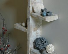 Note: this is handmade to order. Quantity in listing does not reflect actual shelves in stock. It keeps our item from being sold out so fast :) Whether you are decorating a beach inspired seaside retreat or in need of a trendy, weathered pallet wood shelf you will find this reclaimed wood piece adds style and function to your space. Materials/Specs: -21 x 22 x 3.5 inches handcrafted solid oak and pine pallet wood shelf -sanded smooth and white washed, there is no blue paint on this piece…