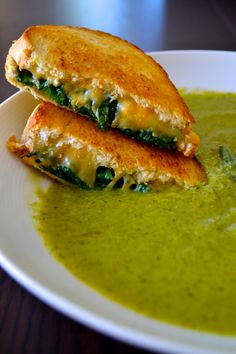 Zucchini-Basil Soup and Grilled Cheese