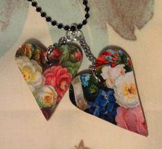 floral heart necklaces -