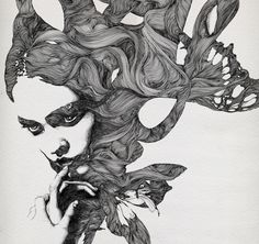 Drawings by Gabriel Moreno  His distinctive style is characterised by intricately drawn hair.