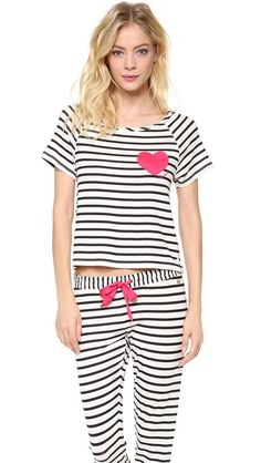 Juicy Couture Stripe Jammies - these are the jam. Heart on the ass. #nuffsaid