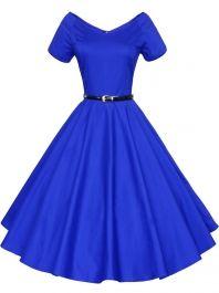 Chic Blue V Neck 1950s Swing Dress