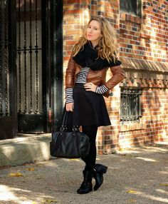 Stripes, Leather and Tights (via Bloglovin.com )