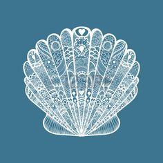 seashell%3A+Zentangle+gestileerde+witte+zee+schelp.+Hand+getrokken+doodle+illustratie+ge%C3%AFsoleerd+op+een+blauwe+achtergrond.+Schets+voor+tatoeage+of+makhenda.+Seashell+collectie.+Ocean+life.