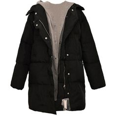 Black Patchwork Warm Winter Hooded Womens Long Quilted Coat ($67) ❤ liked on Polyvore featuring outerwear, coats, jackets, black, long hooded coat, long quilted coat, quilted coat, hooded coat and long coat