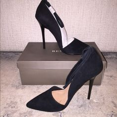 Renvy Fierce two piece D'orsay platform pump Black suede with ankle strap. Never worn. Size 9. Please feel free to ask questions! Renvy Shoes Heels