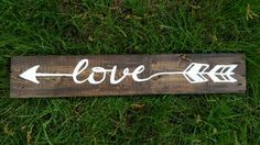 Rustic Salvaged Love Quote Arrow on Wood Pallet Sign, Decor Sign, Wedding Sign, Recycled Wood, Bow & Arrow, Reclaimed Custom wood arrow
