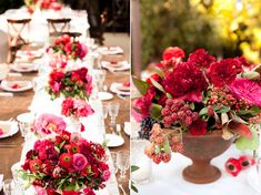 Terra cotta containers might be interesting. Very beautiful with these colors gold compote spilling with seasonal greenery and foliages, red ilex berries, red roses, red spray roses, red garden roses, red ranunculus, and green-red antique hydrangeas.
