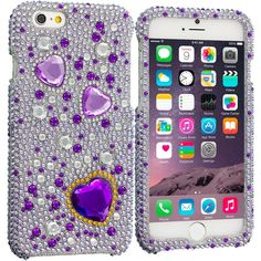 Purple Heart Bling Rhinestone Case Cover for Apple iPhone 6 Plus 6S Plus (5.5)