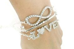 Love long life infinity chain charm bracelet by TheSymbolicStone
