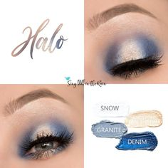 Halo Eye Quad uses four SeneGence ShadowSense: Snow ShadowSense, Sandstone Pearl Shimmer ShadowSense, Granite ShadowSense and Denim ShadowSense .  These cream to powder eyeshadows will last ALL DAY on your eye.  #shadowsense #eyeshadow