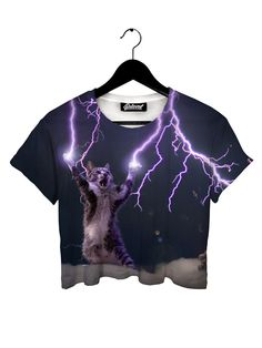 Lightning Cat Crop Tee