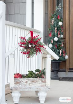 So many lovely vintage-Inspired Christmas Porch Inspirations.