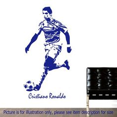 CRISTIANO RONALDO Real Madrid C.F. Football Action Vinyl Stickers Stencil Mural Decal Soccer Player Poster