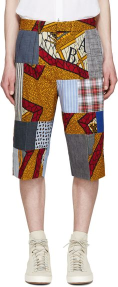 JUNYA WATANABE Multicolor Patchwork Shorts. #junyawatanabe #cloth #shorts