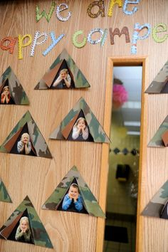 """We are happy campers!"" Decorate your classroom door as a way to welcome your campers to the classroom campout! Image"