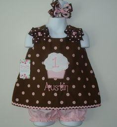 Pink and Brown Polka Dot Cupcake Birthday by preciousbabybows, $45.00