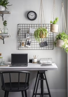 Botanical office setting featuring the Workshop Trestle Desk, Carver Chair, hanging plant pots plus desk and wall storage. Visit our website for .