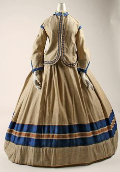 Ensemble (image 1) | British | 1867 | wool, cotton, silk, wood | Metropolitan Museum of Art | Accession Number: 1985.20.1a–d