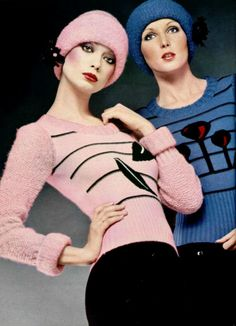L'Officiel magazine 1972. Sonia Rykiel 70s does 30s look knit sweater hat cap matching novelty print pink blue black stripe