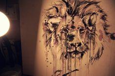 Lion inked, I like the fur :) Leo Tattoos, Future Tattoos, Tatoos, Tattoo For My Son, Lion Sketch, Sketch Art, Watercolor Lion, Watercolor Tattoo, Lion Painting
