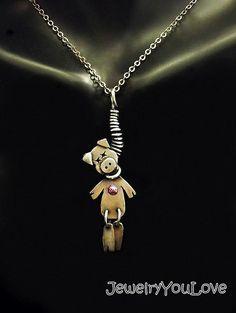 Collar de plata esterlina cerdo vudú - rosa