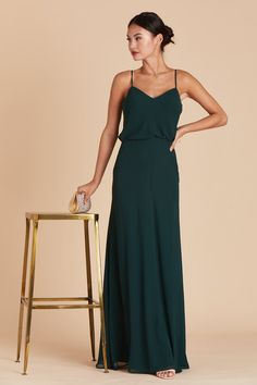 83ee755c85d A soft ruffle drapes across the spaghetti-strap bodice of this effortless  chiffon bridesmaid dress
