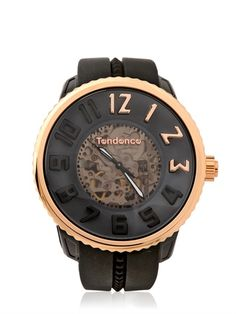 Unique black and rose gold skeleton watch