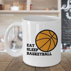 Basketball Mug Basketball Cup Eat Sleep Basketball Baseball Basketball Gifts, Eat Sleep, Mug Designs, Art Market, Your Best Friend, Girl Gifts, White Ceramics, Special Gifts, Panda