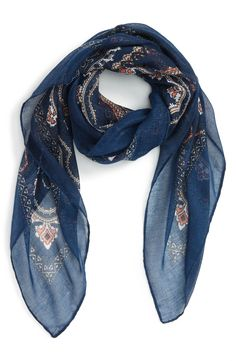 Blue Paisley Square Scarf