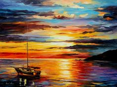 Large Seascape  At Anchor  Palette Knife Sailboat Sunset Oil