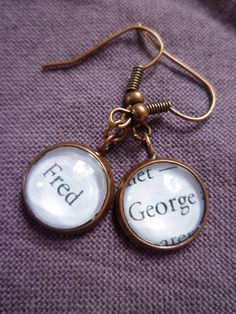 """Harry Potter Jewelry- """"Fred and George""""- Book Page Jewelry, Antique Copper Earrings"""