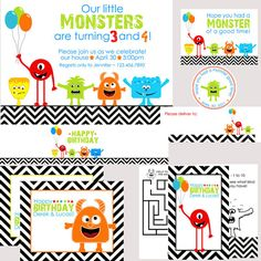 Monster Birthday Party Package  With or Without Photo by nounces, $45.00