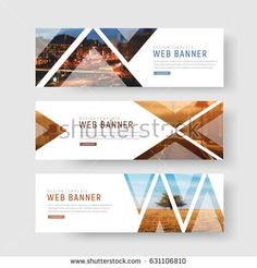 set of horizontal white banners with triangular shapes for a photo. Universal template for a web site with text, buttons and transparent elements. Photo of a mosaic for a sample. Website Design, Web Design Tips, Ad Design, Flyer Design, Graphic Design, Banner Design Inspiration, Web Banner Design, Web Banners, Page Layout Design