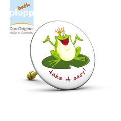 """bath plopp """"Froschkönig, take it easy"""".    Unsere Stöpsel für die Badewanne bieten Ihnen maximales Badevergnügen.  #Bad #plopp #bath #bathroom #Badezimmer #Geschenkidee #Badewanne"""
