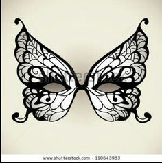 Black and white butterfly mask