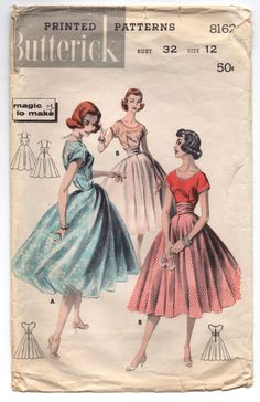 """1950's Butterick One-Piece Dress with Princess Dress and Slip Pattern - Bust 32"""" - No. 8162 by backroomfinds on Etsy"""