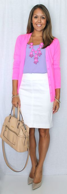 Lavender and neon pink is a personal favorite. It looks fresh against a white pencil skirt or jeans.