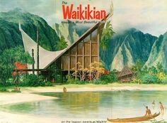 The Waikikian Hotel, billed as Hawaii's Most Beautiful Hotel, was built in 1956 in Waikiki, Hawaii. It was designed by a local architect named Pete Wimberly and his Honolulu architectural firm Wimberly Cook. Vintage Tiki, Vintage Hawaiian, Vintage Surf, Tiki Art, Tiki Tiki, Tiki Hawaii, Aloha Hawaii, Blue Hawaii, Tiki Decor