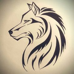 Wolf Illustration for a Sunday afternoon. Tribal Animal Tattoos, Tribal Drawings, Tribal Wolf Tattoo, Tribal Animals, Cool Art Drawings, Pencil Art Drawings, Tattoo Drawings, Lion Tattoo, Drawing Art