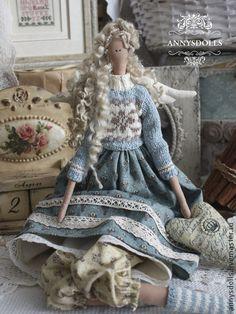 Элисон - бирюзовый,корона,ангел с сердцем,кукла Тильда,интерьерная кукла