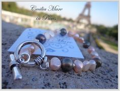 Cecilia Mare bracelet with natural pink and grey pearls in Paris http://www.ceciliamarejewellery.com/