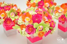 I quite simply ADORE these!  Click on the image to go to the link for the florist's blog and all the details.  DK Designs: Pink, Orange and Green Flowers for a Destination Wedding in Jamaica