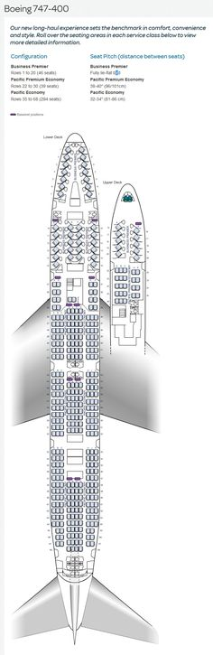 AIR NEW ZEALAND AIRLINES BOEING 747-400 AIRCRAFT SEATING CHART
