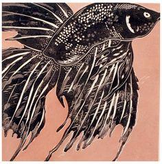 Black Fish I - woodblock print 2000 - Ralph Kiggell, Asia