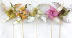 Pinwheels - Vintage, Garden Tea Party, Girl Baby Shower, Wedding, Bridal Shower, Shabby Chic, 1st First Birthday, Pink, Sage Green, Yellow, Floral, Print, Polka Dots, Decorations, Favors, Table Center Piece
