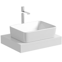 Mode Orion white countertop shelf with Ellis basin, tap and waste   VictoriaPlum.com