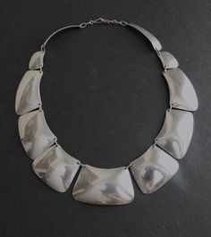 Vintage Sterling Native American Graduated Shields Necklace Signed