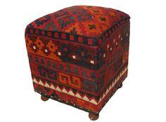 orient Kelim Hocker Fußhocker Sitzkissen Kilim cushion Stool Ottoman  4eck-A
