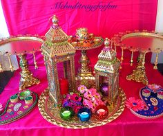 Moroccan themed mehndi plates and lanterns collection.See my Facebook page Www.facebook.com/mehnditraysforfun for more inspirational ideas